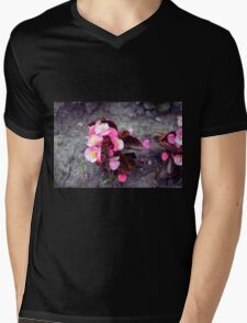 Small pink flowers on dry land. Mens V-Neck T-Shirt