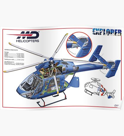 MD Helicopter EXPLORER cutaway Poster