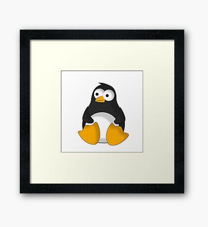 Penguin cartoon drawing Framed Print