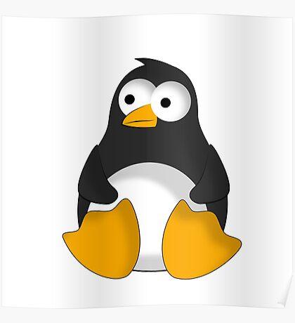 Penguin cartoon drawing Poster