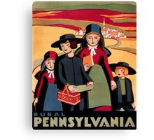 Rural Pennsylvania, Amish Children on a way to school Canvas Print