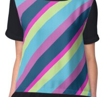 Blue pink lime Lines Chiffon Top