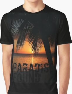 Paradise Found Tropical Palm Tree Orange Silhouette Graphic Print Graphic T-Shirt