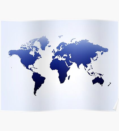 Blue & white  map Poster