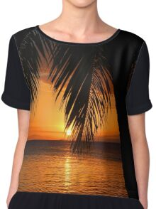 Tropical Palm Tree Ocean Sunset Print Tee Chiffon Top