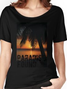 Paradise Found Tropical Palm Tree Orange Silhouette Graphic Print Women's Relaxed Fit T-Shirt