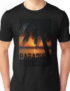 Paradise Found Tropical Palm Tree Orange Silhouette Graphic Print Unisex T-Shirt