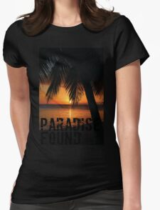 Paradise Found Tropical Palm Tree Orange Silhouette Graphic Print Womens Fitted T-Shirt