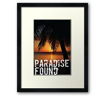 Paradise Found Tropical Palm Tree Beach Sunset Graphic Print Quote Framed Print