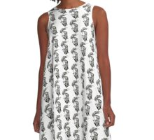 Diving, playful fox hand drawn and illustrated with pen and ink. A-Line Dress