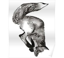 Diving, playful fox hand drawn and illustrated with pen and ink. Poster