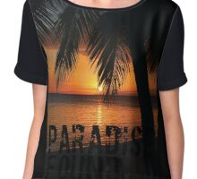 Paradise Found Tropical Palm Tree Orange Silhouette Graphic Print Chiffon Top