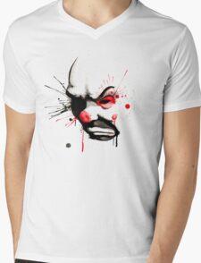 Clown Bank Robber Splatter Mens V-Neck T-Shirt