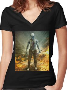 Crazy Scary Monster Apocalyptic Scene Women's Fitted V-Neck T-Shirt