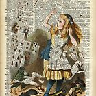 Alice In The Wonderland,Alice and Playing Cards,Vintage Dictionary Art by DictionaryArt
