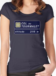 Col du Tourmalet, Road Sign, France Women's Fitted Scoop T-Shirt