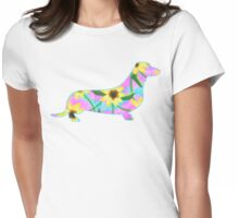 Dachshund Watercolor Sunflowers Womens Fitted T-Shirt