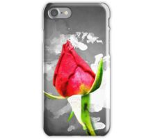 Red garden rose bud on a lush green background  iPhone Case/Skin