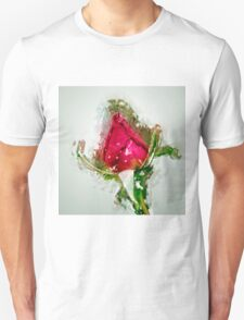 Digitally manipulated drawing of a red Rose bud Unisex T-Shirt