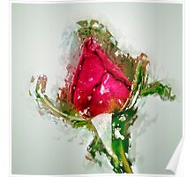 Digitally manipulated drawing of a red Rose bud Poster