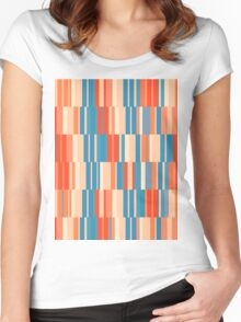 Pattern 034 Retro Rectangle Pastel Colors Women's Fitted Scoop T-Shirt