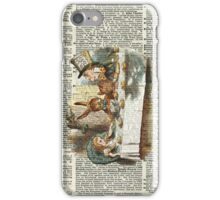 Alice in Wonderland,Tea Time Vintage Illustration,Dictionary Art iPhone Case/Skin