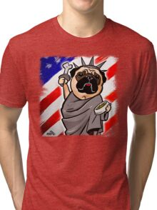 4th of July Independence Pug Tri-blend T-Shirt