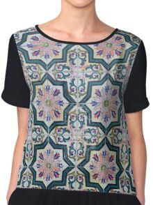 Portuguese azulejos. 8-pointed pink star  Chiffon Top
