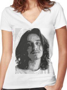 Pouya - Black & White Women's Fitted V-Neck T-Shirt
