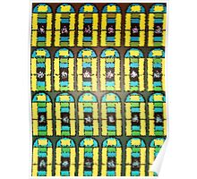 Pattern 037 Stained Glass Yellow Green Blue Frosted Poster