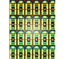 Pattern 037 Stained Glass Yellow Green Blue Frosted Photographic Print