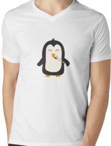 Penguin with sushi   Mens V-Neck T-Shirt