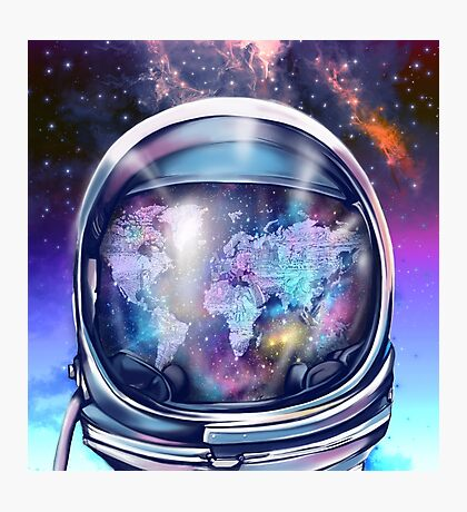 astronaut world map 1 Photographic Print