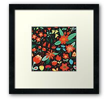 Flowers and hearts Framed Print