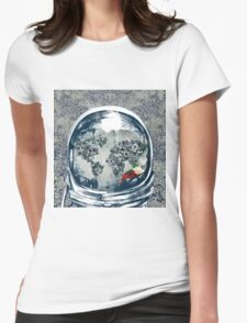 astronaut world map 2 Womens Fitted T-Shirt