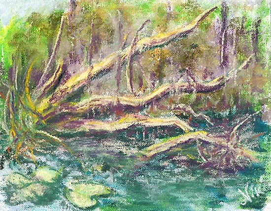 Swamp Tree (pastel) by Niki Hilsabeck