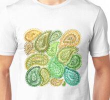 Dark Green Watercolor Paisley Pattern Unisex T-Shirt