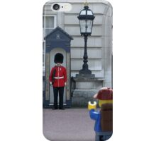 The Lego Backpacker talking to the Queens Guard iPhone Case/Skin