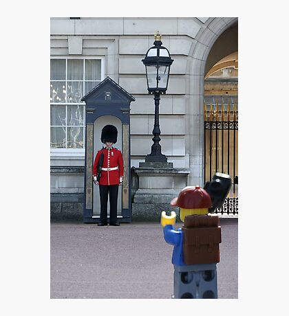 The Lego Backpacker talking to the Queens Guard Photographic Print