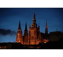 Prague: St Vitus Cathedral at Dusk Photographic Print