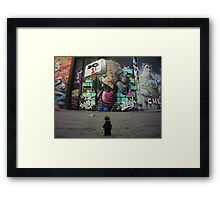 The Lego Backpacker checking out street art in London Framed Print