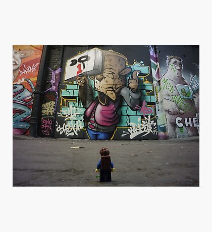 The Lego Backpacker checking out street art in London Photographic Print