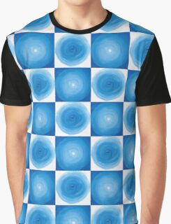 Blue And White Circles Abstract Pattern Graphic T-Shirt
