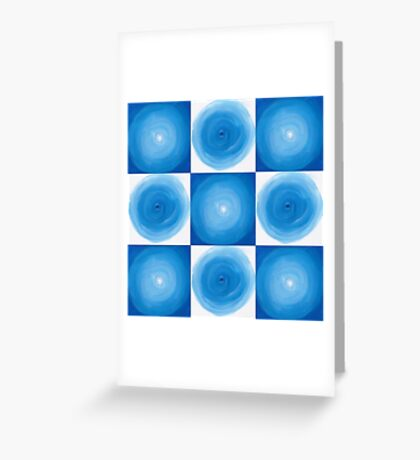 Blue And White Circles Abstract Pattern Greeting Card