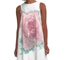 Digitally manipulated painting of a Pink English rose as seen from above  A-Line Dress