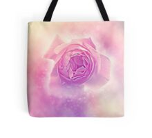 Digitally manipulated painting of a Pink English rose as seen from above  Tote Bag