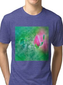Digitally manipulated exploding red Rose bud Tri-blend T-Shirt