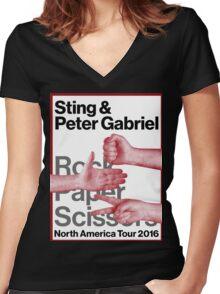 PETER GABRIEL STING ROCK PAPER SCISSORS 2016 Women's Fitted V-Neck T-Shirt