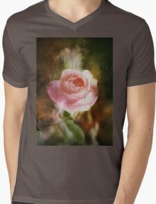 Computer generated old painting of a pink rose  Mens V-Neck T-Shirt