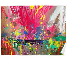 Kid's easel splattered with paint Poster